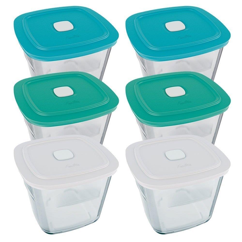 Conjunto de Pote de vidro Facilita 1L com Tampa Plástica - 6 Peças - Marinex