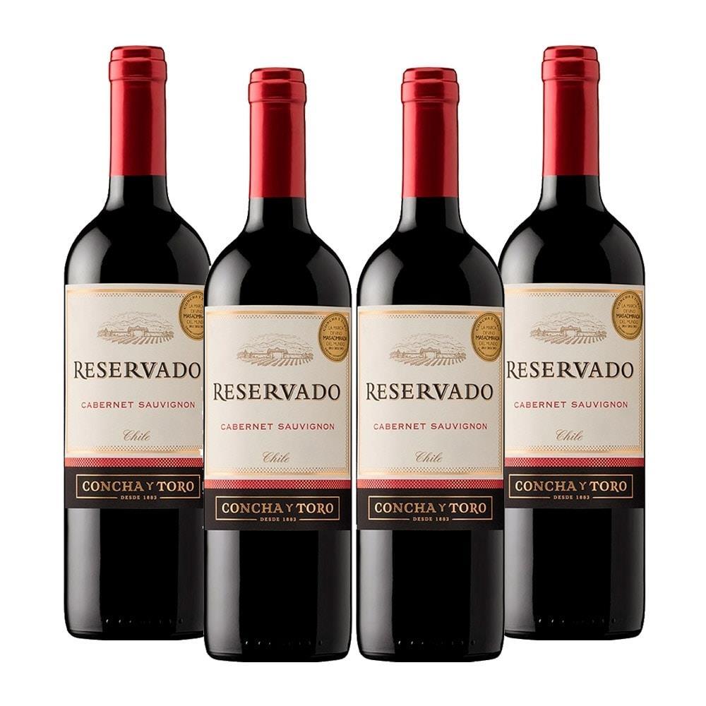Kit : 4 Vinhos Importados Chileno Concha Y Toro Reservado Cabernet Sauvignon...