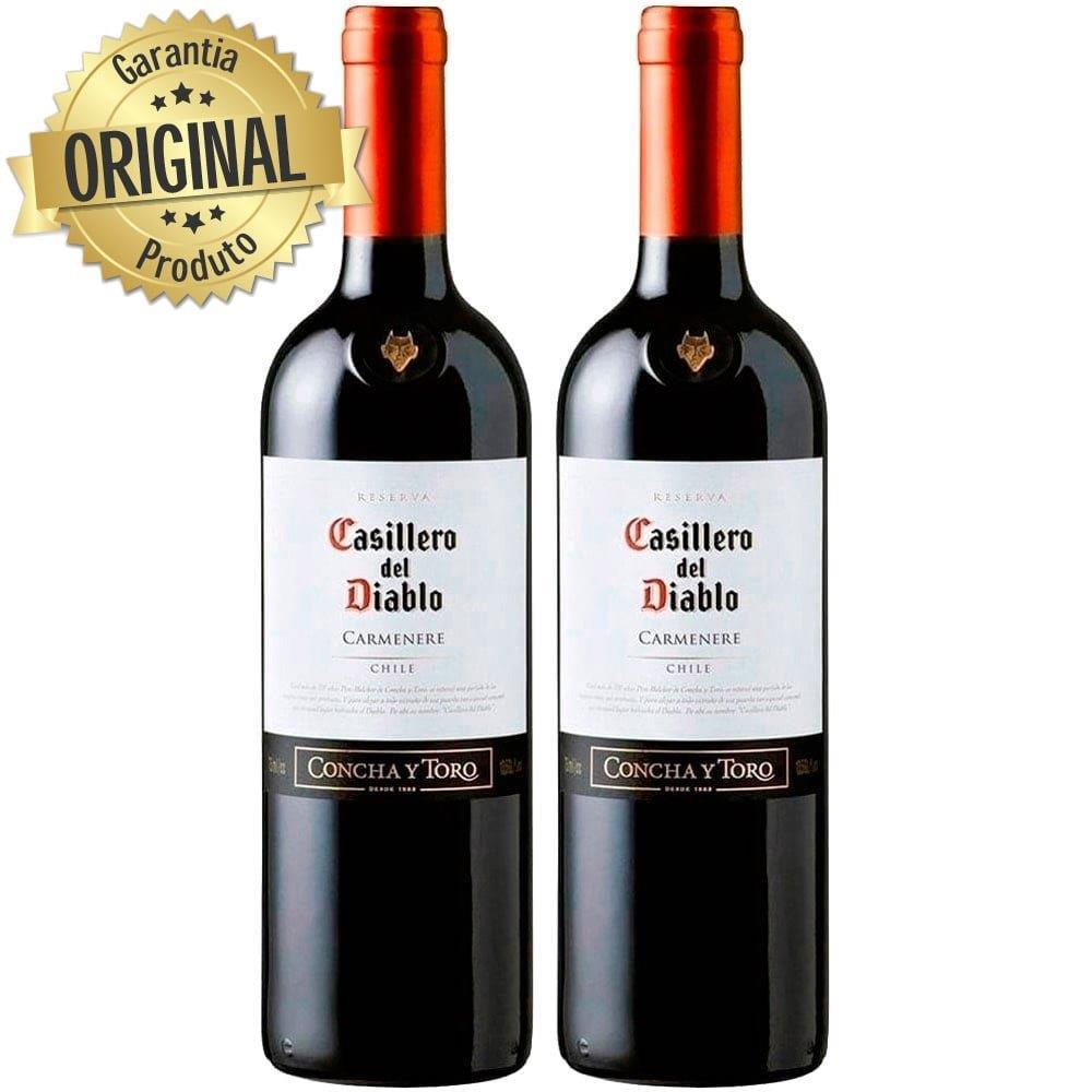 Kit 2 Vinho Importado Chileno Casillero Del Diablo Carmenere Tinto 750ML