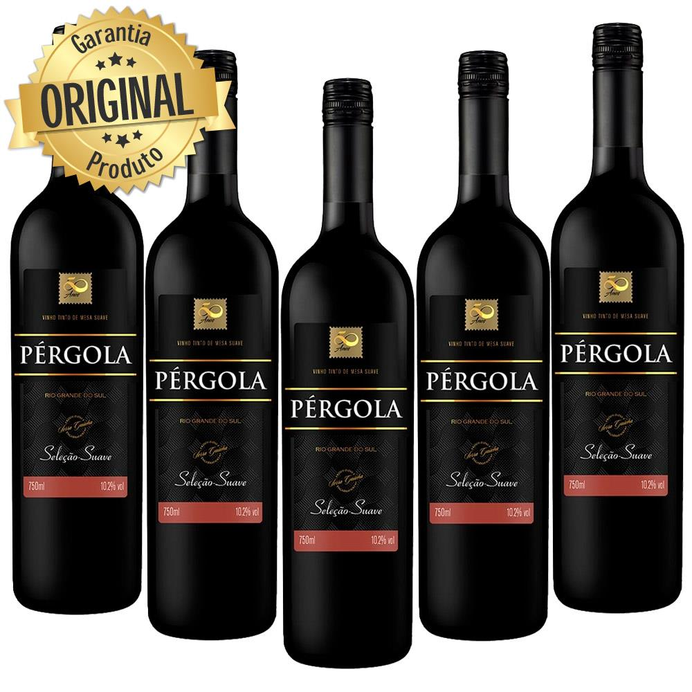 Kit 5 Vinhos Nacional Pergola Tinto Suave 750ML