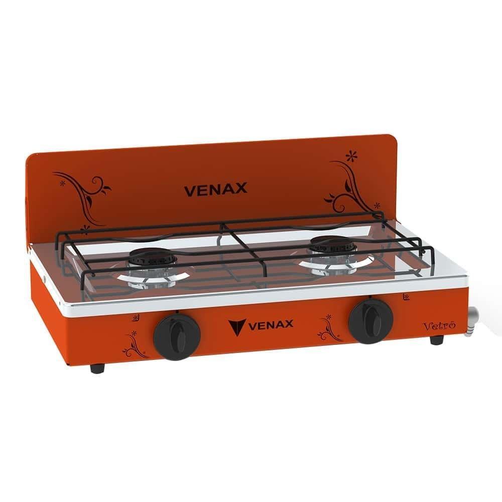 Fogão de Mesa Venax 2 Bocas Flamalar Vêtro Gás GLP Portátil Metal Vermelho