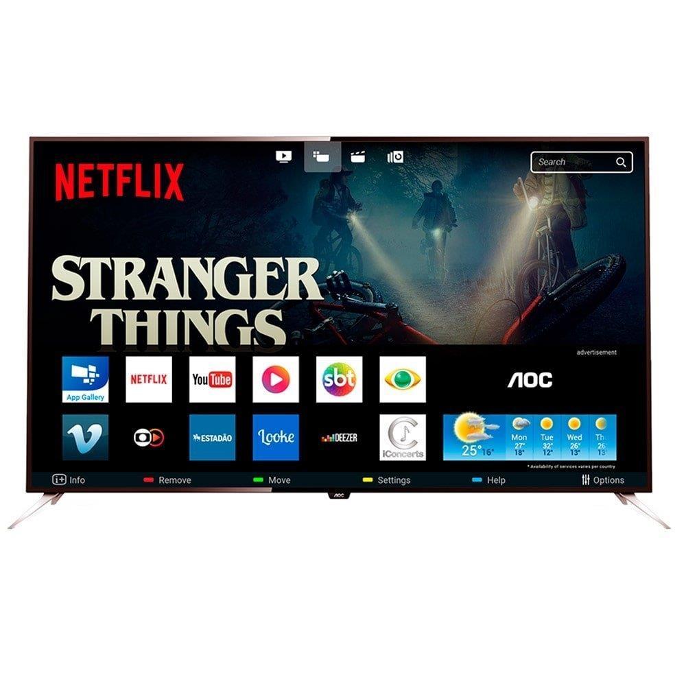 """Smart TV LED 50"""" AOC LE50U7970 4K Ultra HD com Wi-Fi 2 USB 4 HDMI Controle com..."""