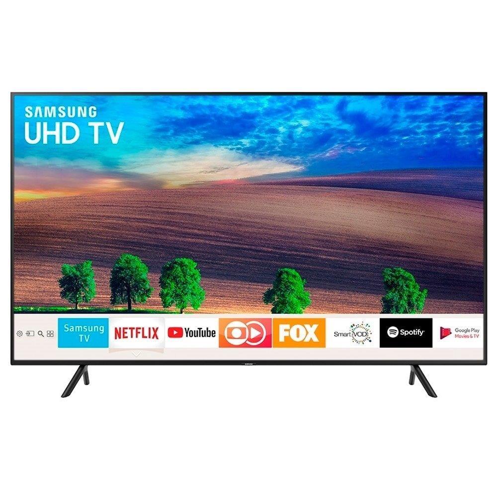 """Smart TV LED 40"""" Samsung UN40NU7100GXZD 4K Ultra HD HDR com Wi-Fi, 2 USB, 3..."""
