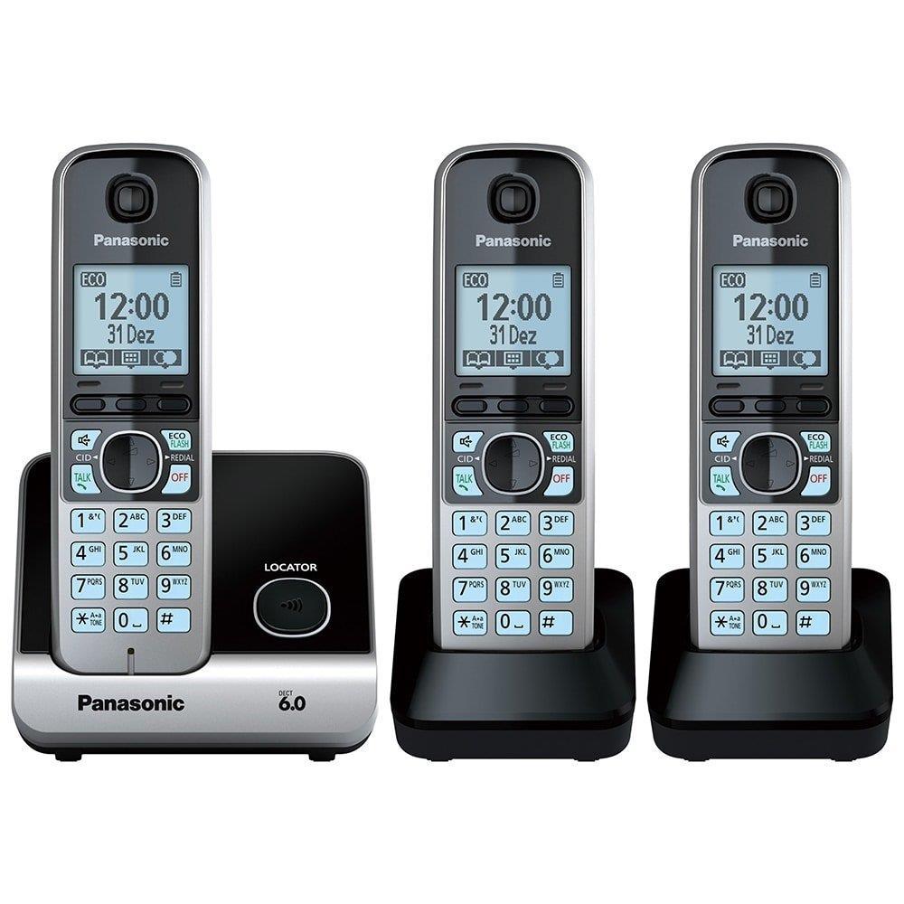 Telefone sem Fio KX-TG6713LBB Preto ID. Chamadas, Viva - Voz + 2 Ramais -...
