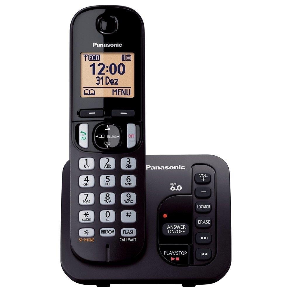 Telefone sem Fio KX-TGC220LBB Preto Dect 6.0, Secretária Eletrônica, Viva-Voz -...