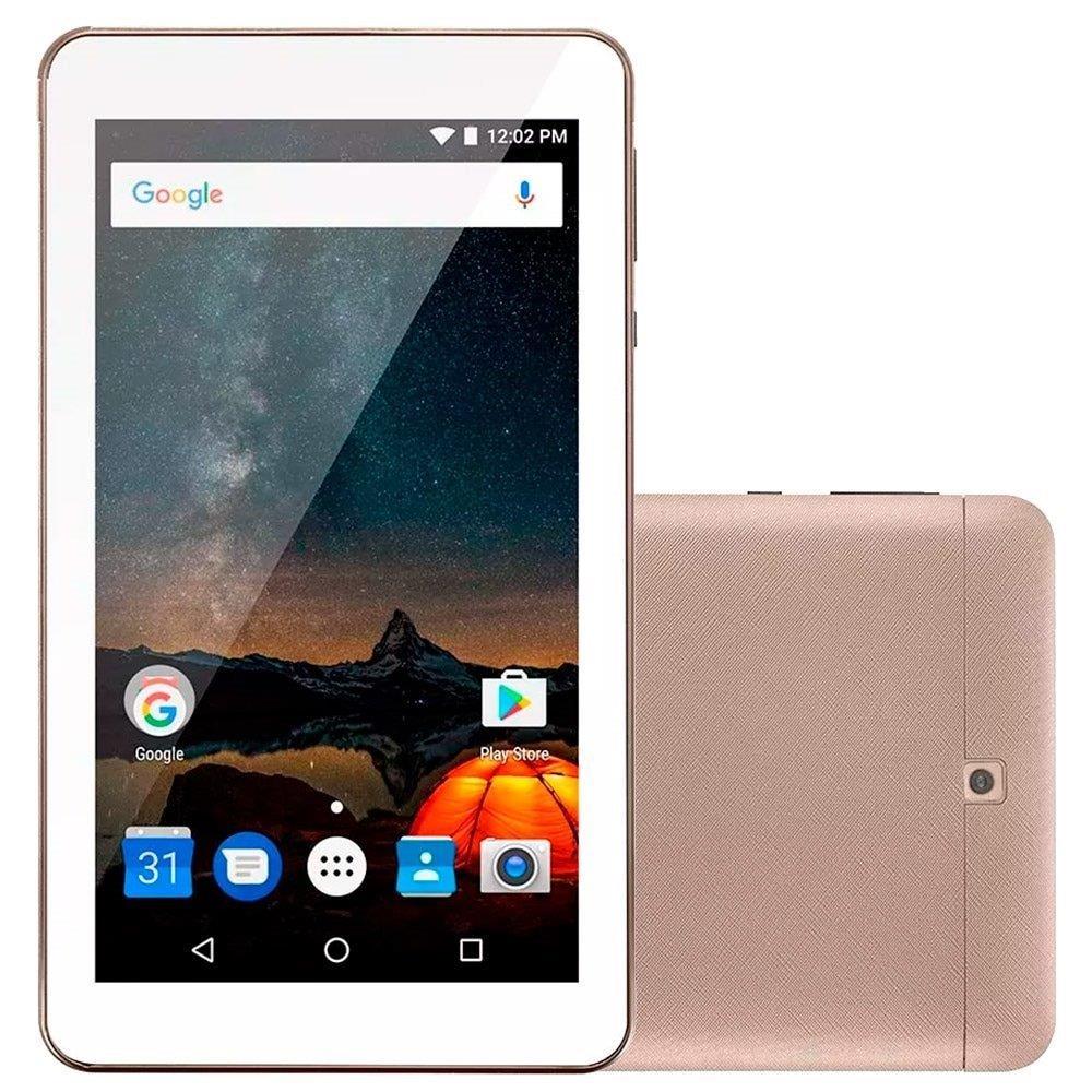 "Tablet Multilaser M7-S NB276, Dourado, Tela 7"", WiFi, Android 7.0, 2MP 8GB"