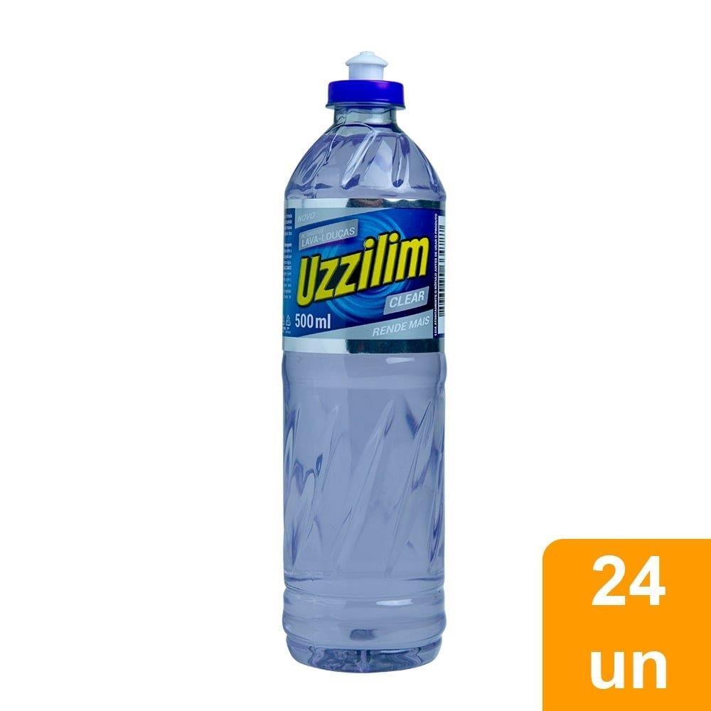 Detergente Uzzilim Lava Louca Clear 500ml - Embalagem c/  24 Unidades