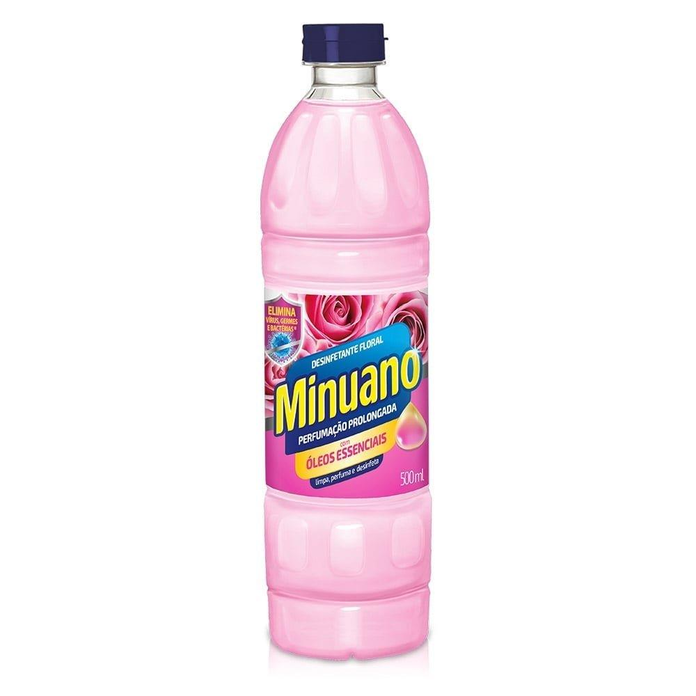 Desinfetante Minuano Floral 500ml Embalagem com 24 Unidades