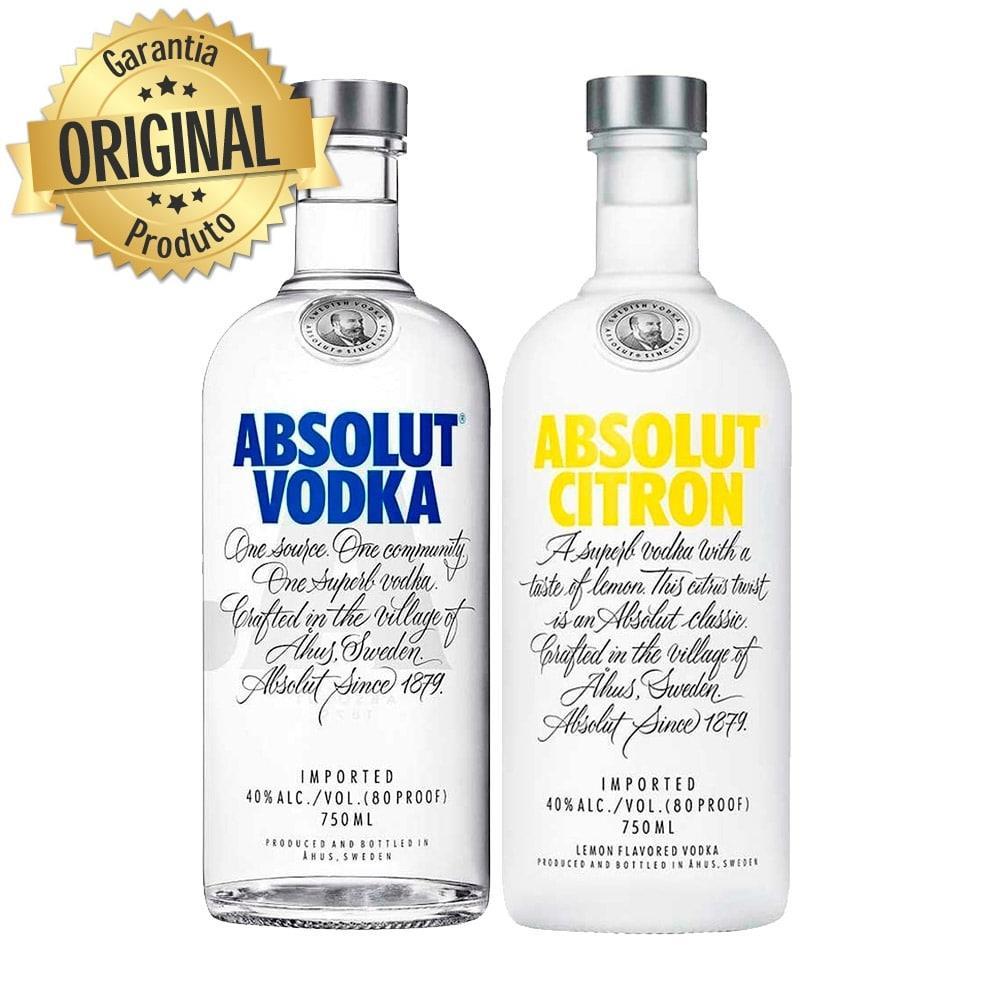 Kit Vodka Absolut Natural 750ml + Citron 750ml