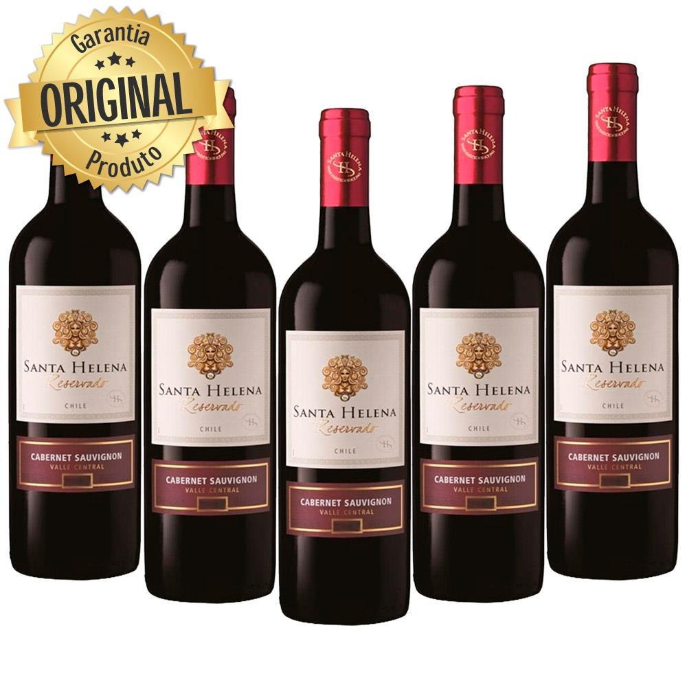 Kit 5 Vinhos Importado Chileno Santa Helena Cabernet Sauvignon Tinto 750ML