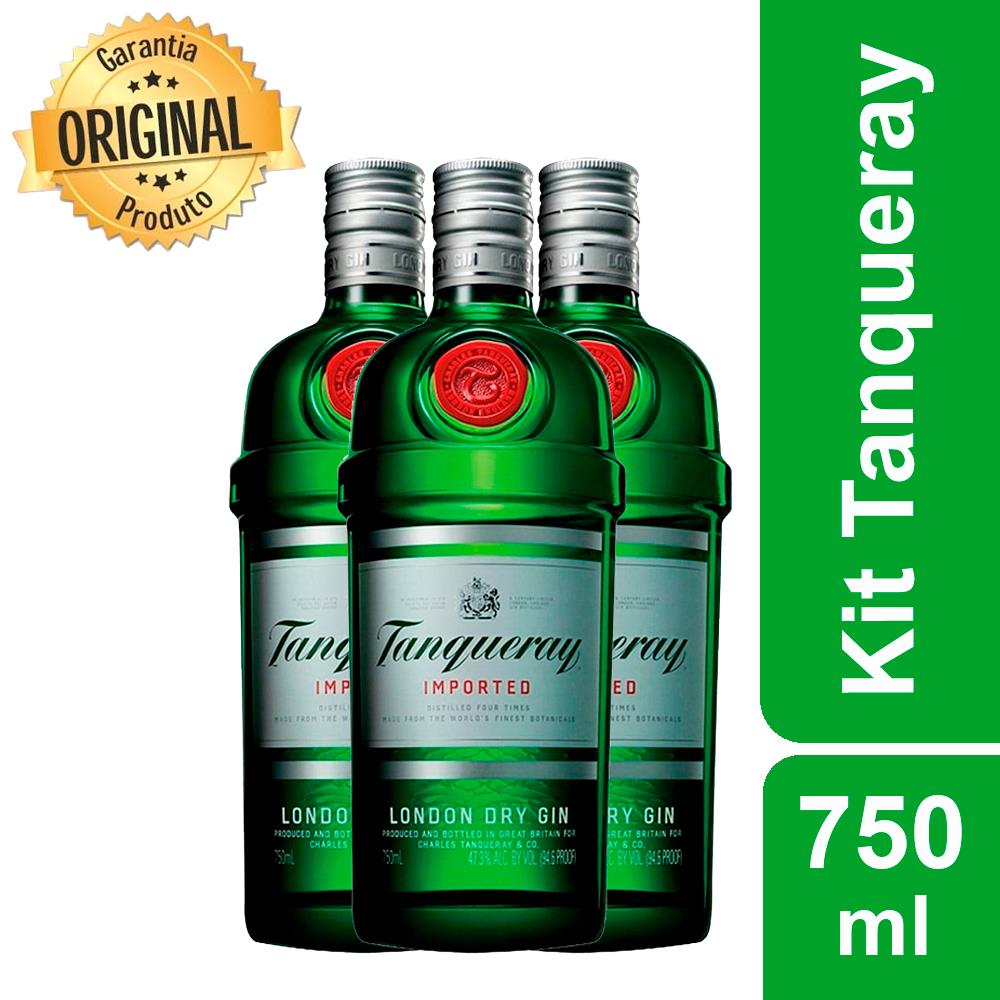 Kit: 3 GIN IMPORTADO TANQUERAY 750ML