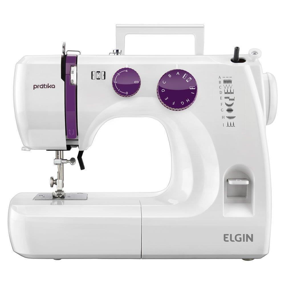 Máquina de Costura Elgin Portátil JX2051 Prátika Branca/Vinho