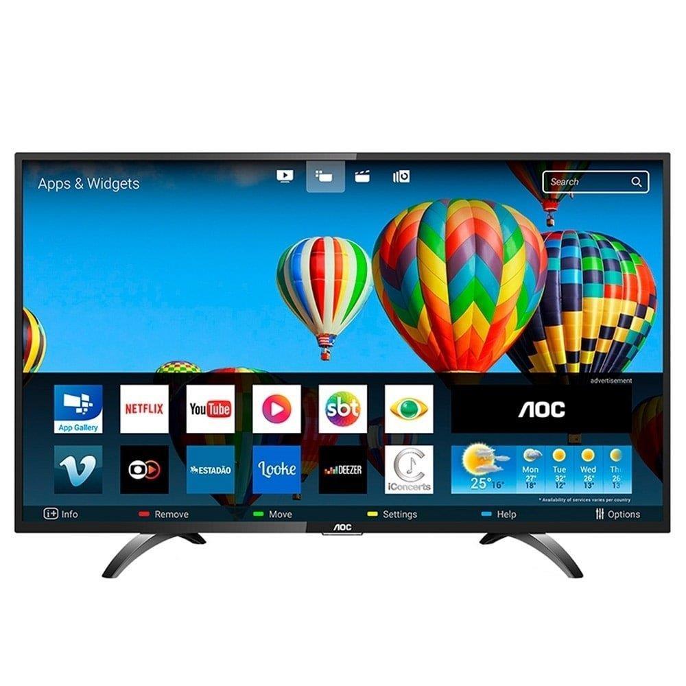 """Smart TV LED 43"""" AOC LE43S5970S Full HD com Wi-Fi, 2 USB, 3 HDMI e 60Hz"""