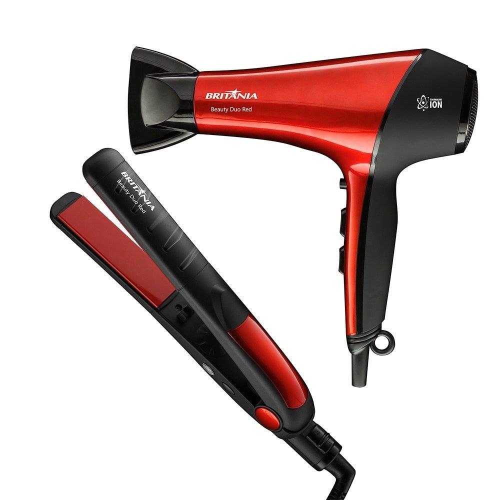 Kit Britânia com Secador de Cabelo Beauty Duo Red BSC2900 com 2 Velocidades e 3...