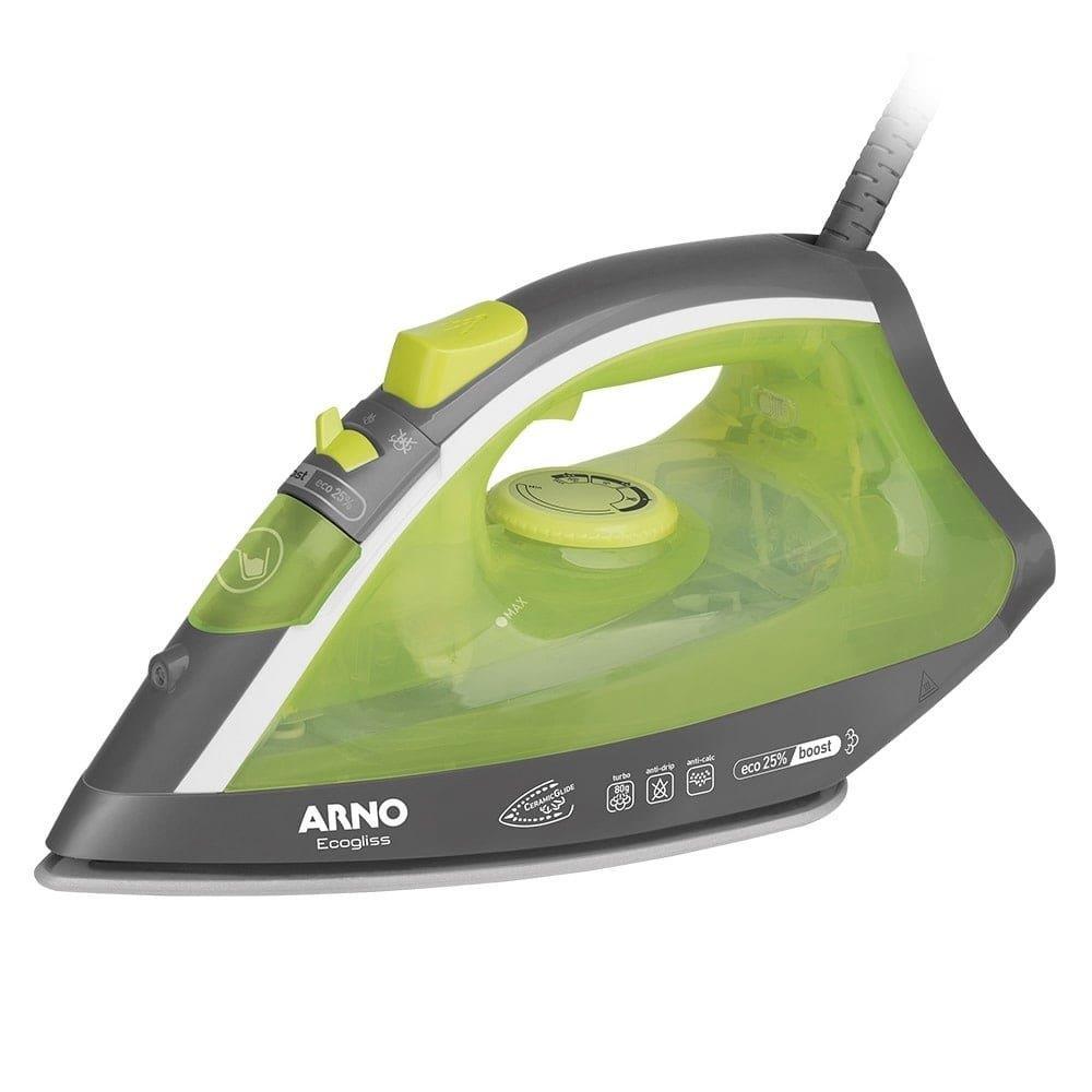 Ferro de Passar a Vapor Arno Ecogliss FSC1 com Base Cerâmica Verde