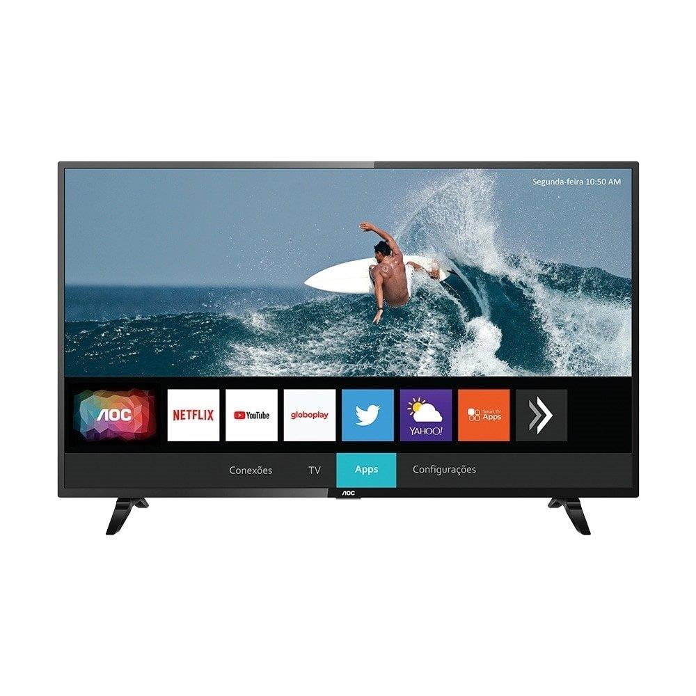 "Smart TV LED 32"" AOC 32S5295/78G HD HDR com Wi-Fi, 2 USB, 3 HDMI, Botões..."