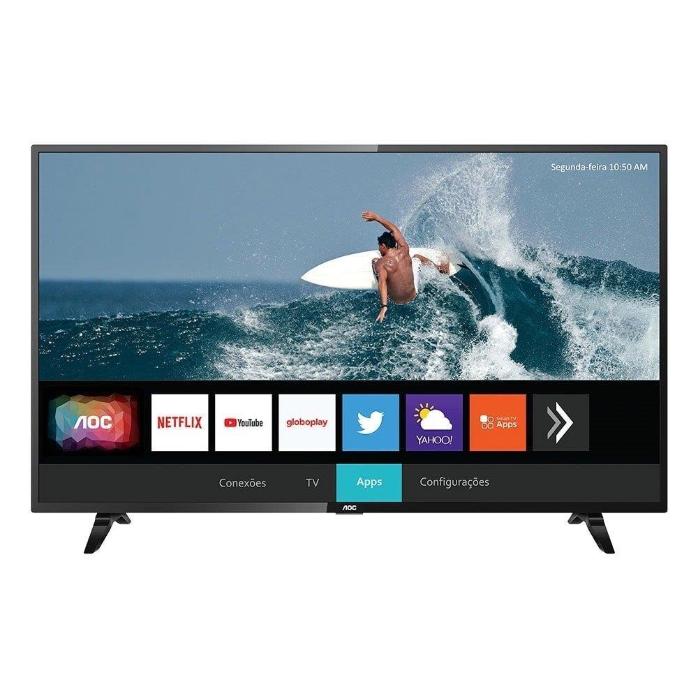 """Smart TV 43"""" LED AOC 43S5295/78G com WiFi, 2 USB, 3 HDMI, Controle com Botão..."""