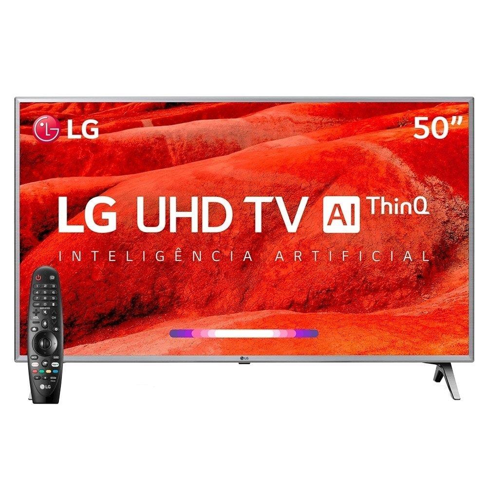 "Smart TV 50"" LG 50UM7500PSB 4K com Wi-Fi, 2 USB, 4 HDMI, ThinQ AI e 60Hz"