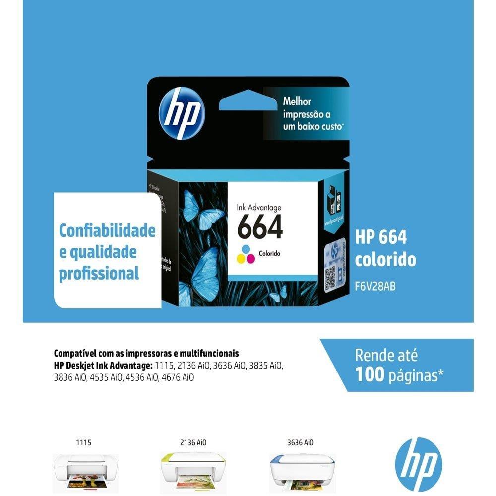 Foto 2 - Cartucho Original HP 664 F6V28AB INK Color