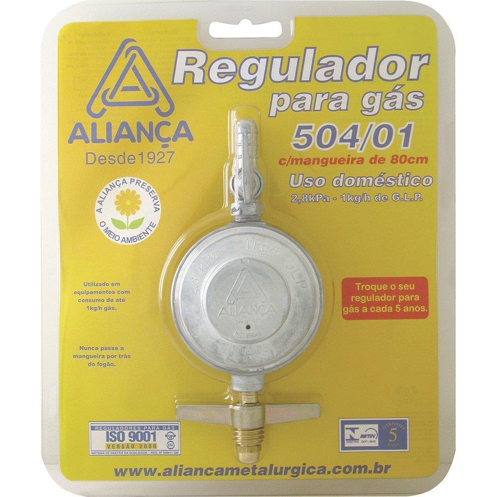 Regulador para Gás Aliança 504/01 Médio com Mangueira Blister 80cm