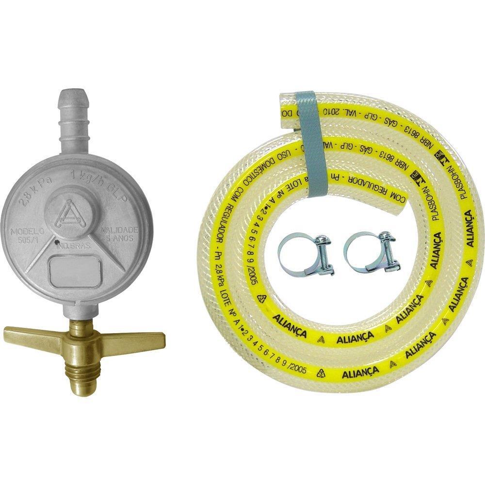 Regulador para Gás Aliança 505/01 Pequeno com Mangueira 120cm