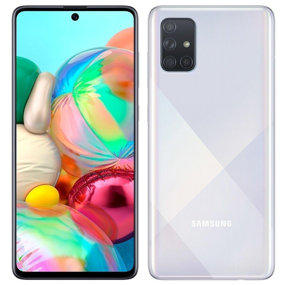 "Smartphone Samsung Galaxy A71, Prata, Tela 6.7"", 4G+Wi-Fi+NFC, Câm Traseira..."