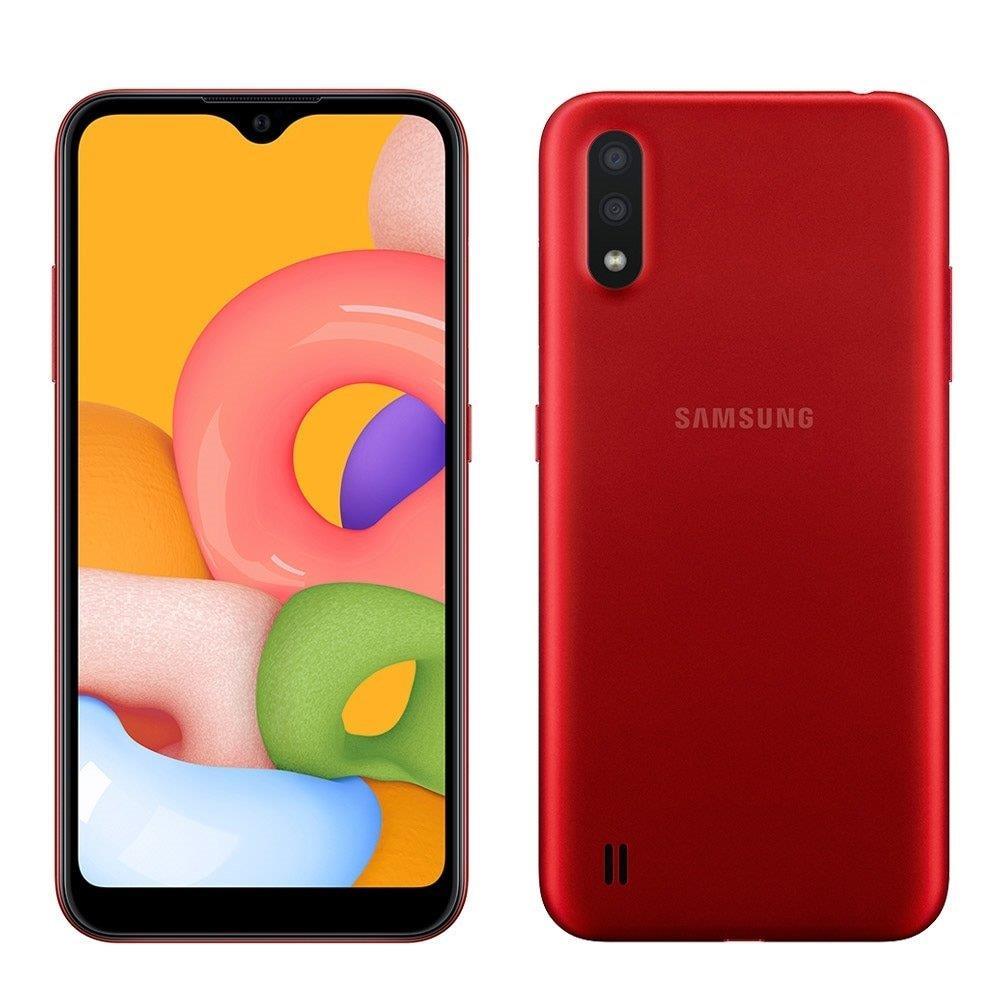 "Smartphone Samsung Galaxy A01, Vermelho, Tela 5.7"", 4G+Wi-Fi, Android, Câm..."