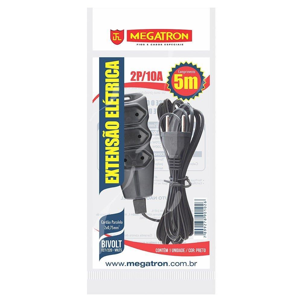 Extensão Megatron Fio Paralelo 2 x 0,75mm 5m Preta 3 Tomadas